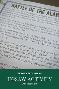 The Texas Revolution Jigsaw Activity is the perfect way to have students teach their peers all about the Revolution in Texas. Students are assigned to Jigsaw groups and assigned a chunk of information. They then meet with their expert groups to study and present the information. Included along with the pre-chunked information are also three differentiated note taking pages and an assessment for accountability. Check it out now by clicking the photo! #TeachingInTheFastLane #TexasRevolution Instructional Strategies, Teaching Strategies, Teaching Resources, Texas Revolution, Texas Teacher, History Classroom, Texas History, Student Engagement, Student Teaching