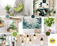 Planche inspiration pour salon, salle à manger et cuisine. Coloris : camaïeu de verts. Gallery Wall, Table Decorations, Frame, Design, Furniture, Home Decor, Diner Kitchen, Living Room, Picture Frame