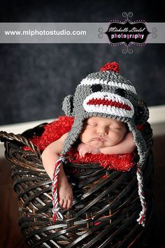 We'll have to try this pic, since we got one of these hats! Crocheted monkey hat for baby