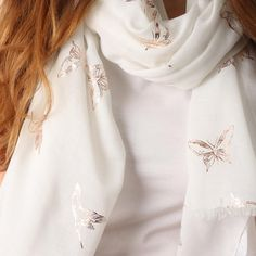 Ladies' White bird and butterfly foil print scarf, by Style Slice, features shiny metallic hummingbirds and butterflies printed in gold. Elegant spring or summer shawl that can be personalised with a charm or a monogram. Suitable as a gift for anniversary, birthday or any day in which to tell the woman in your life, be it a Mum, Wife, Sister or Girlfriend, that she is special. #scarf #shawl #wrap #scarves #fashion #vintage #handmade #acessories #etsy #gift #sparkle #glitter #headwrap #ootd