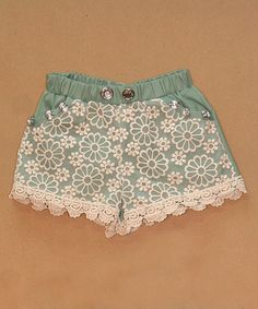 Another great find on #zulily! Mint Lace Shorts - Infant, Toddler & Girls by Sweet Charlotte #zulilyfinds