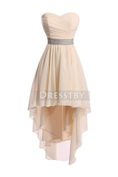 Champagne sweetheart neck high- low prom dress, homecoming dress
