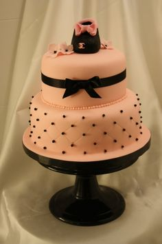chanel pink baby shower cake