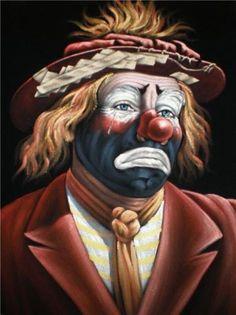 Sad Clown black velvet original oil painting by VelvetPaintings, $130.00