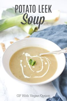 Creamy and healthy potato leek soup recipe is the perfect hearty soup for a chilly night. Vegetables are simmered together and blended into a creamy soup. Healthy Potato Leek Soup, Healthy Potatoes, Soup Recipes, Whole Food Recipes, Healthy Recipes, Free Recipes, Vegan Options, Kitchen Recipes, Easy Dinner Recipes