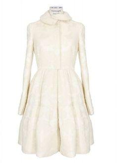 Alexander McQueen Coat :: Alexander McQueen ivory flowers print jacquard coat | Montaigne Market