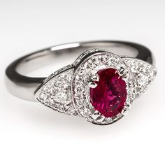 Platinum Jewelry | ... Ruby Engagement Ring w/ Genuine Diamonds Solid Platinum Estate Jewelry -- Can't resist this one!