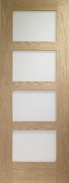 Contemporary 4-panel Frosted Glass Door, Solid Red Oak contemporary interior doors