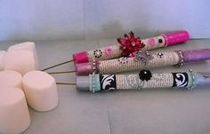 Glamping marshmallow sticks.....lol love it! Embellished with rhinestones, jewels and anything sparkly n glittery!