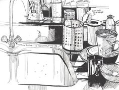 Messy kitchen , watercolour by Roisin Cure