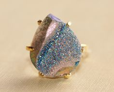 Genuine Druzy Ring,Large Rainbow Titanium Druzy Quartz,Pear Shape,Geode Gemstone Ring,Adjustable Vintage Ring,Statement,Gift For Her by hangingbyathread1 on Etsy https://www.etsy.com/listing/206941053/genuine-druzy-ringlarge-rainbow-titanium