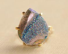Genuine Druzy Ring,Large Rainbow Titanium Druzy Quartz,Pear Shape,Geode Gemstone Ring,Adjustable Vintage Ring,Statement,Gift For Her by hangingbyathread1 on Etsy https://www.etsy.com/listing/206941053/genuine-druzy-ringlarge-rainbow-titanium