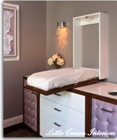 Great direction for a hidden changing table so you don't have to turn! The side panel is a hidden diaper genie! I could do this with our old dressers!