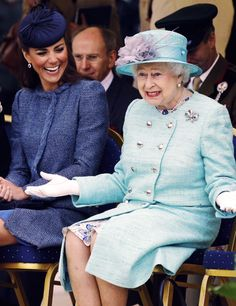 Great expression for the Queen.  The Duchess of Cambridge is laughing-did Q-Tip crack a joke?