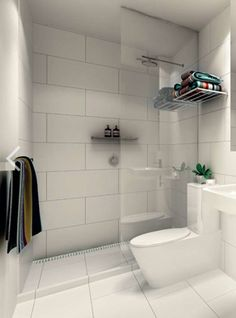 "For a simple look - Large white tiles - Kerry Phelan Design. Similar layout of our small bathroom with a floating sink! Would prefer a glossier finish to the tiles since we won't be tiling all the walls ""wet room. Downstairs Bathroom, Laundry In Bathroom, Bathroom Showers, Bathroom Hacks, Master Bathroom, Tile Showers, Master Baths, Shower Bathroom, Bathroom Curtains"