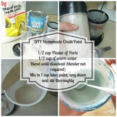 "DIY Homemade Chalk Paint Recipe...Ingredients are listed on the picture..Self-Explanatory & easy..NO NEED TO PRIME AND REMEMBER TO LET THE PAINT COMPLETELY DRY BETWEEN COAT'S..IF YOU ARE GOING FOR THE POPULAR ""VINTAGE"" OR ""DISTRESSED"" LOOK JUST SAND IT UTIL YOU GET THE LOOK YOU ARE WANTING"