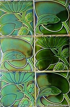 Tiles designed by CFA Voysey for the Pilkington Tile & Pottery Co; c1900. From the Fish & Leaf design series; in the dark green colourway.