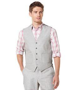 Perry Ellis Vests, Linen Fine Stripe Vest - Mens Blazers & Sport Coats - Macy's