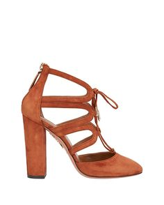 Aquazzura Holli Stack Heel Suede Cage Pump: Self tie at front of these cut out cage almond toe suede pumps. 4 1/2 stacked heel. Zipper closure at back heel. Leather sole. In rusty brown suede.  Made in ...