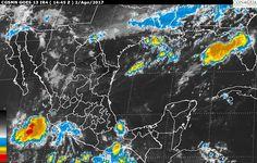 Hoy, se pronostican tormentas locales muy fuertes en Sonora, Sinaloa, Chihuahua, Durango, Nayarit, Michoacán, Guerrero, Oaxaca y Chiapas; así como tormentas fuertes en zonas de Coahuila, Jalisco, Colima, Estado de ...