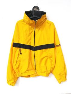 65df39e07d28 Vintage Nautica Competition Sailing Bright Yellow Windbreaker Jacket Size L