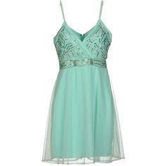 La Kore Short Dress ($53) ❤ liked on Polyvore featuring dresses, turquoise, short dresses, green cocktail dress, beaded dress, sleeveless cocktail dress and deep v-neck dress