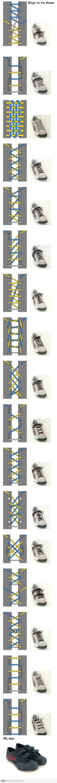 Ways to tie shoes- some are stupid but some are really cool! I love the woven one!