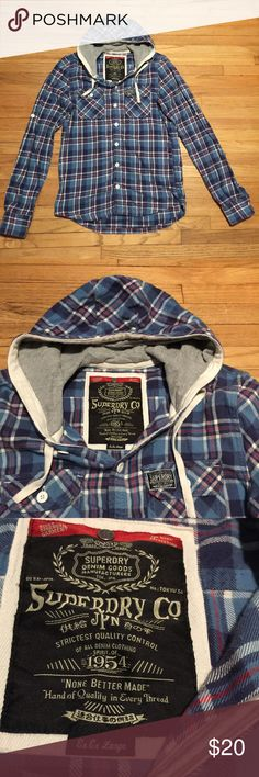 Superdry l/s plaid hooded button up shirt - XXL Superdry l/s plaid hooded button up shirt - XXL. Armpit to armpit - 22 inches. Length - 28 inches. Excellent condition Superdry Shirts Casual Button Down Shirts