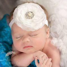 Baby Headbands White baby girl by ThinkPinkBows on Etsy