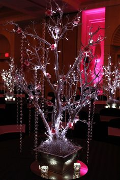 Silver Tree with Hanging Crystals, LED Lights