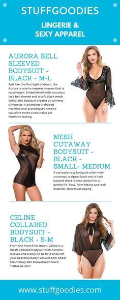 Black Bodysuit, Black Mesh, Infographics, Sexy Lingerie, Bikinis, Swimwear, Bell Sleeves, Silhouette, Bra