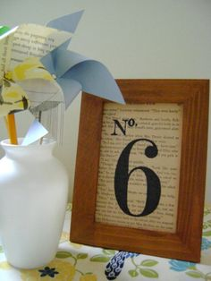Wedding table numbers / black stenciled number on book page / in stained wood frame / wedding décor