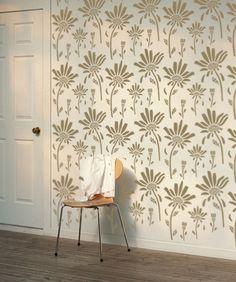 Loves Me Loves Me Not Decorative Scandinavian Wall Stencil for DIY project, Wallpaper look and easy Home Decor