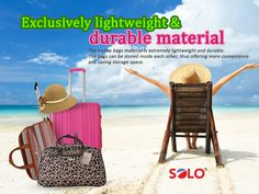 SOLO #travelling #bags come with export quality accessories and will accompany you wherever you travel.   These are available in a range of vibrant #colors and #designs with extremely lightweight and durable material, can be placed inside each other thus offering more storage space and ease.  #leisure #vacations Our product range is displayed on http://www.fakhruddinsouq.com/#shop