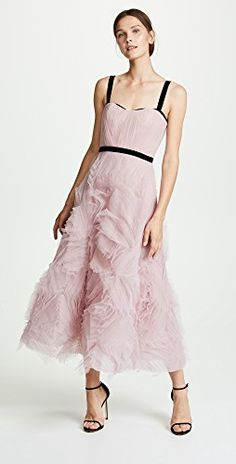 New Marchesa Notte Sleeveless Textured Tulle Gown online. Day Dresses, Dress Outfits, Evening Dresses, Fashion Dresses, Summer Dresses, Marchesa Notte Dress, Engagement Photo Outfits, Engagement Session, Tulle Gown