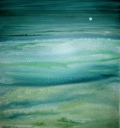 """Evening Moon"" Watercolor Painting. Created by Maureen Kerstein. One of a Kind. Original Watercolor painting of land, sea, and sky. Painted in beautiful blues and greens with an mysterious moon that sets the mood for this painting. This painting will draw you in and make you want to look more closely at the details and textures. A very beautiful painting for your home will arrive ready for the frame of your choice to make it your own."