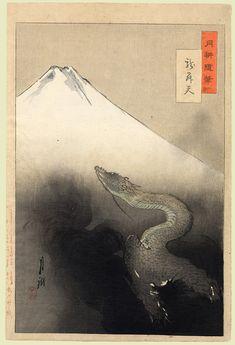 Art, Ukiyoe, Woodblock Print, Japan, Animal, Dragon.