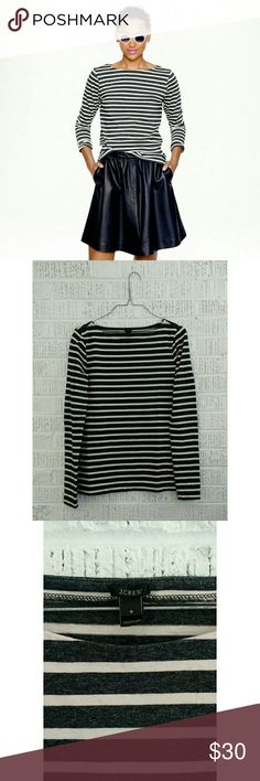J. Crew Long-Sleeve Sailor Striped Shirt Picasso, Coco Chanel, Waldo—all people who made sailor stripes famous. Add your name to the list with this classic layer, made from a slightly thicker fabric and weathered stripes.  Cotton. Machine wash. Item08677. EUC; like new  No trades. Bundle + save!! J. Crew Tops Tees - Long Sleeve