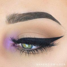 black winged liner + pastel lilac inner-corner highlight | eye makeup @makenziewilder