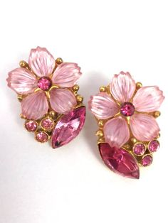 Pink Rhinestone Earrings Flower Earrings Clip On by MicheleACaron