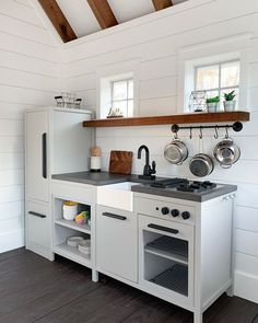 Full tour with links to all sources and this adorable custom modern farmhouse playhouse! Playhouse Decor, Playhouse Interior, Modern Playhouse, Build A Playhouse, Playhouse Outdoor, Cubby Houses, Play Houses, Modern Farmhouse Style, Farmhouse Decor
