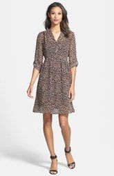 Like this dress, just not in leopard print.   Two by Vince Camuto Split Neck Leopard Print Shirtdress (Regular & Petite)