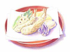 Colored Pencil Drawings of Japanese Cuisine (Vol.02)    - Japanese Tempura…
