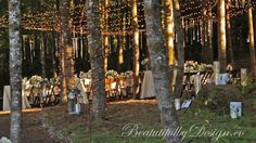 Enchanting Forest Wedding, lighted trees and tables, from BeautifulbyDesign.co