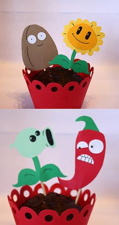 Plants vs. Zombies Cupcake Toppers.