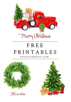 Free Christmas Printables and DIY holiday wall decor ideas. Get tips for printing and framing, along with inspiration to create your own custom look. Christmas wall art, Christmas truck, red Christmas truck.