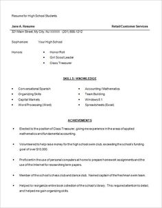 High School Student Job Resume  Examples For Students Resume For