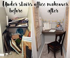 Under stairs office makeover. Great use of an awkward space! This would be great for a home office or even just a reading or homework nook!