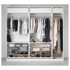 IKEA PAX Wardrobe units-I want the two left units with mirrored doors. Pax Closet, Ikea Pax Wardrobe, Ikea Closet, Walk In Wardrobe, Bedroom Wardrobe, Wardrobe Design, Closet Bedroom, Walk In Closet, Wardrobe Wall