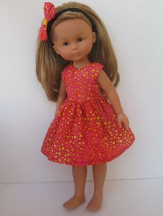 "Clothes for Corolle Les Cheries Paola Reina Outfit 13 "" Doll Dress and Headband 